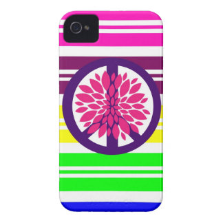 Hippie Flower Power Peace Sign on Rainbow Stripes iPhone 4 Covers