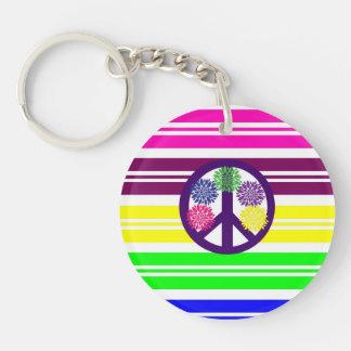 Hippie Flower Power Peace Sign on Rainbow Stripes Keychain