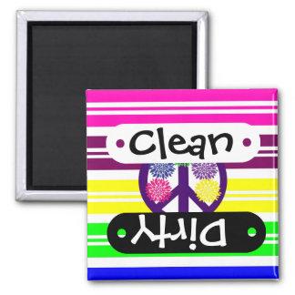 Hippie Flower Power Peace Sign on Rainbow Stripes Magnet