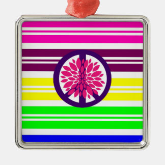 Hippie Flower Power Peace Sign on Rainbow Stripes Metal Ornament