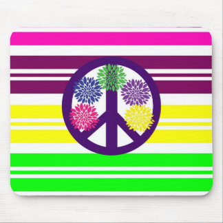 Hippie Flower Power Peace Sign on Rainbow Stripes Mouse Pad