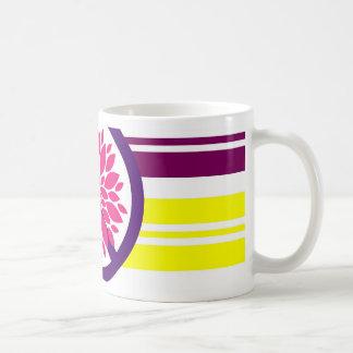 Hippie Flower Power Peace Sign on Rainbow Stripes Mug