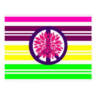 Hippie Flower Power Peace Sign on Rainbow Stripes Postcard