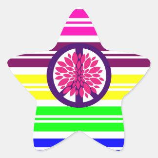Hippie Flower Power Peace Sign on Rainbow Stripes Sticker