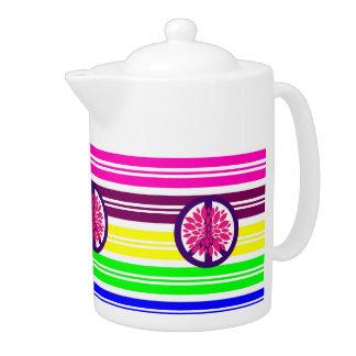 Hippie Flower Power Peace Sign on Rainbow Stripes Teapot