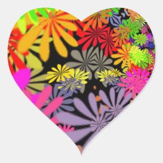 Hippie Flowers Design Heart Sticker