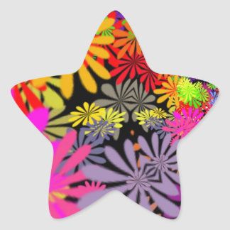 Hippie Flowers Design Star Sticker