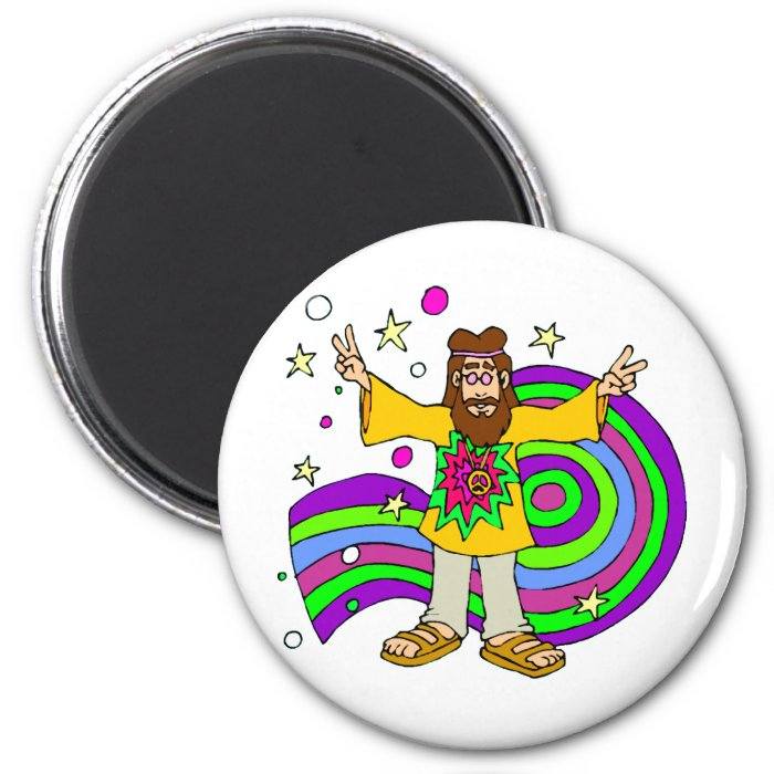 """""""hippie gifts"""" """"father's day"""" 2 inch round magnet"""