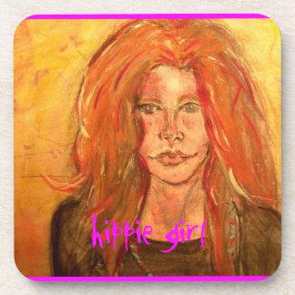 hippie girl art beverage coaster