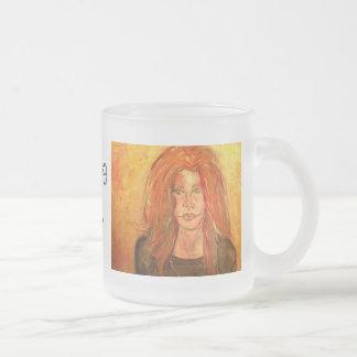 hippie girl art frosted glass coffee mug