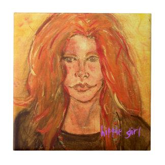 hippie girl art tile