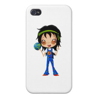 Hippie Girl Kids Peace Earth iPhone 4 Cases