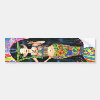 Hippie Girl Mermaid Bumper Sticker Car Bumper Sticker