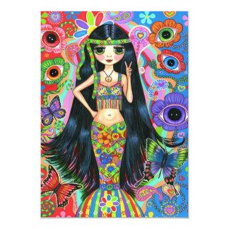 Hippie Girl Mermaid Invitation