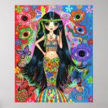 Hippie Girl Mermaid Poster