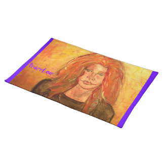 hippie girl PeaceLove Cloth Placemat
