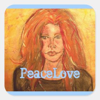 hippie girl PeaceLove Square Sticker