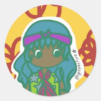 Hippie Girl Classic Round Sticker