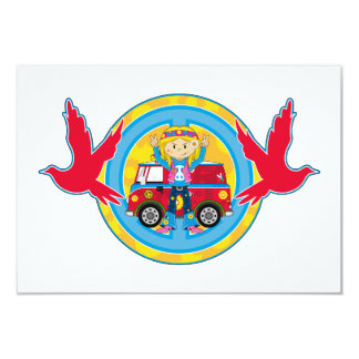 Hippie Girl with Camper Van & Doves 3.5x5 Paper Invitation Card