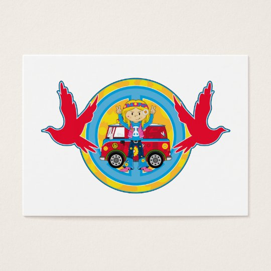 Hippie Girl with Camper Van & Doves Business Card