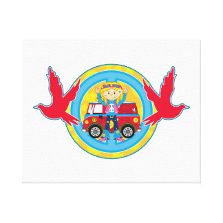 Hippie Girl with Camper Van & Doves Stretched Canvas Prints