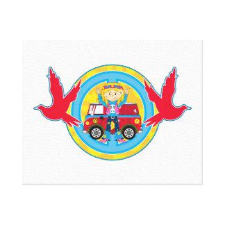 Hippie Girl with Camper Van & Doves Canvas Print