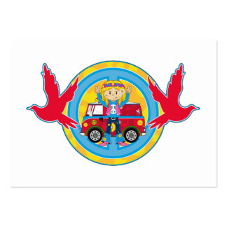 Hippie Girl with Camper Van & Doves Large Business Card