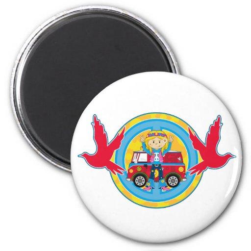 Hippie Girl with Camper Van & Doves 2 Inch Round Magnet