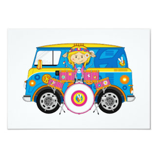 Hippie Girl with Drums and Camper Van 3.5x5 Paper Invitation Card