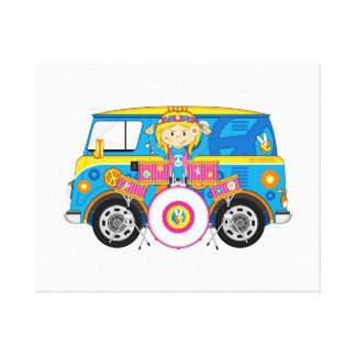 Hippie Girl with Drums and Camper Van Canvas Print
