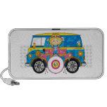 Hippie Girl with Drums and Camper Van iPod Speaker