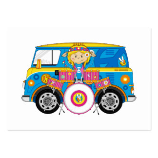 Hippie Girl with Drums and Camper Van Large Business Card
