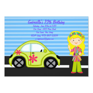 Hippie Girl with Green Buggy Birthday Invitation