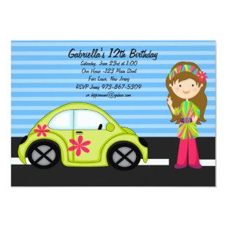 "Hippie Girl with Green Buggy Birthday Invitation 5"" X 7"" Invitation Card"