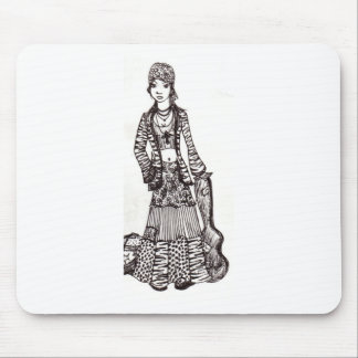 Hippie Girl with Guitar Art Custom Products Mouse Pads
