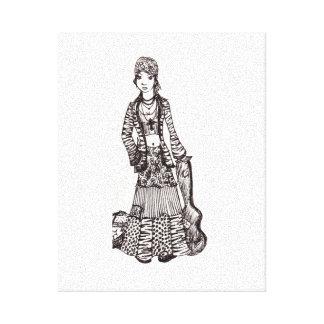 Hippie Girl with Guitar Canvas Art Print