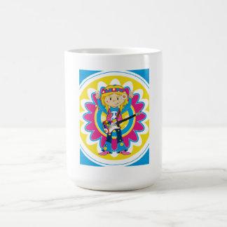 Hippie Girl with Guitar Coffee Mug