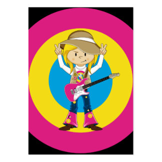 Hippie Girl with Guitar Large Business Card