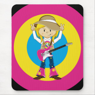 Hippie Girl with Guitar Mouse Pad