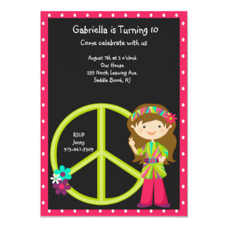 Hippie Girl with LimeGreen Peace Sign Girls Invite