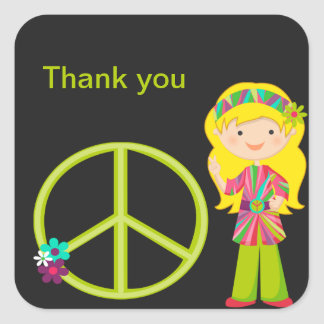 Hippie Girl with Peace Sign Girls Sticker