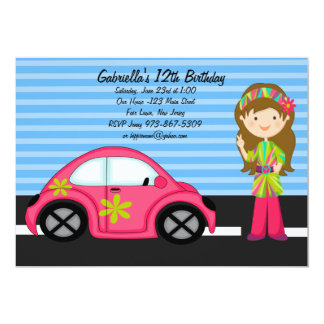 Hippie Girl with Pink  Buggy Birthday Invitation
