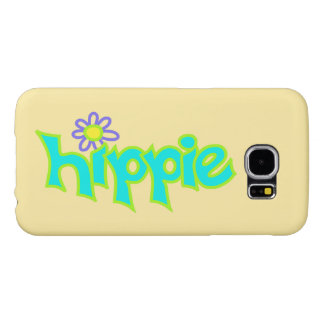 Hippie Graphic Turquoise Lime Green Word Art Samsung Galaxy S6 Case