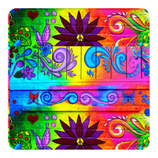hippie groovy colors invitation card