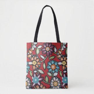 hippie groovy flower power tote bag