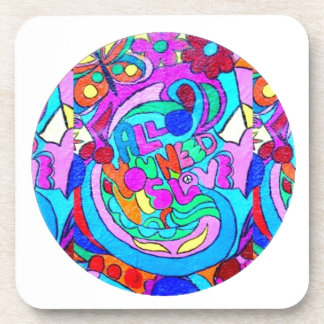 hippie groovy love circle beverage coaster