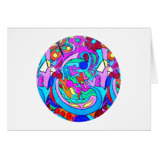 hippie groovy love circle card