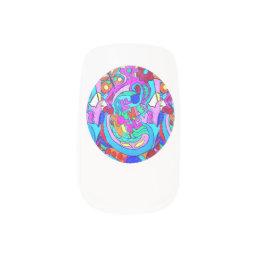 hippie groovy love circle minx nail wraps