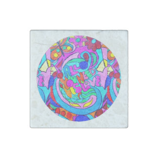 hippie groovy love circle stone magnet
