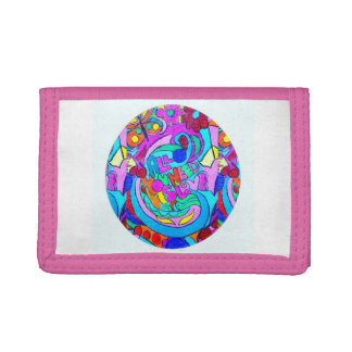 hippie groovy love circle trifold wallets